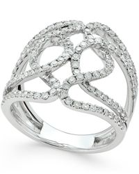 Macy's - Metallic Diamond Wrapped Ring (1 Ct. T.w.) In 14k White Gold - Lyst