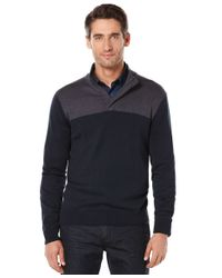 Perry Ellis | Blue Colorblocked Quarter-zip Sweater for Men | Lyst