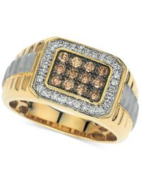 Macy's - Metallic Men's Diamond Two-tone Ring (1/2 Ct. T.w.) In 14k Gold for Men - Lyst