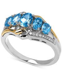 Macy's | Blue Topaz (1-1/2 Ct. T.w.) And Diamond Accent Ring In 14k Gold And Sterling Silver | Lyst