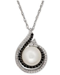 Macy's | Metallic Freshwater Pearl (8mm) And Diamond (1/4 Ct. T.w.) Pendant Necklace In Stering Silver | Lyst