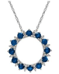 Macy's | Blue Sapphire (1-1/5 Ct. T.w.) And White Topaz (1/10 Ct. T.w.) Pendant Necklace In Sterling Silver | Lyst