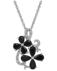 Macy's | Black Onyx (1-1/4 Ct. T.w.) And Diamond Accent Flower Pendant Necklace In Sterling Silver | Lyst