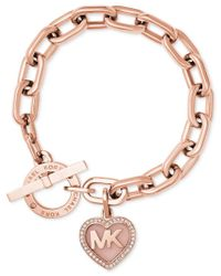 Michael Kors | Metallic Rose Gold-tone Pave Logo Heart Toggle Bracelet | Lyst