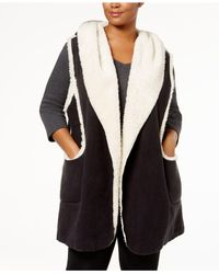 Hue Black Plus Size Sleeveless Hooded Robe