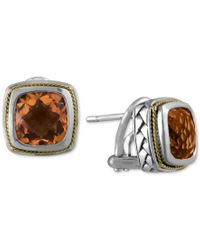 Effy Collection   Metallic Balissima By Effy Citrine (4 Ct. T.w.) Stud Earrings In 18k Gold And Sterling Silver   Lyst