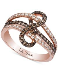 Le Vian | Multicolor Chocolatier Gladiator Weave White And Chocolate Diamond Ring (3/4 Ct. T.w.) In 14k Rose Gold | Lyst