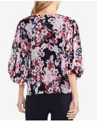 Vince Camuto - Black Floral-print Balloon-sleeve Top - Lyst