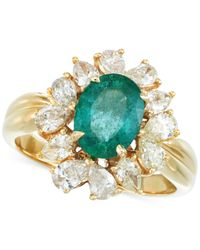 Rare Featuring Gemfields | Metallic Certified Emerald (3/4 Ct. T.w.) And Diamond (1-1/8 Ct. T.w.) Ring In 14k Gold | Lyst