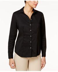 Charter Club | Black Solid Button Down Shirt | Lyst