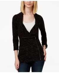 INC International Concepts - Black Asymmetrical-zippered Sweater Jacket, Only At Macy's - Lyst