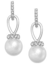 Charter Club | Metallic Silver-tone Imitation Pearl And Pave Drop Earrings, Only At Macy's | Lyst