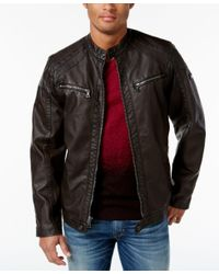 INC International Concepts | Brown Men's Faux Leather Zip-front Moto Jacket, Only At Macy's for Men | Lyst