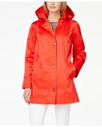 Jones New York - Pink Water-resistant Hooded Turn-lock Coat - Lyst