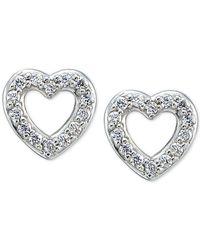 Giani Bernini | Metallic Cubic Zirconia Pavé Heart Stud Earrings | Lyst