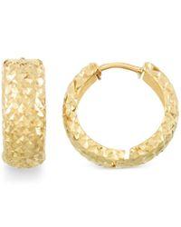 Macy's | Metallic Textured Huggy Hoop Earrings In 14k Gold | Lyst