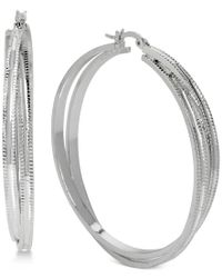 Touch Of Silver - Metallic Textured Twist Hoop Earrings In Silver-plated Metal - Lyst