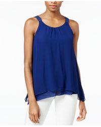 Kensie | Blue Sleeveless Crocheted-strap Tank Top | Lyst