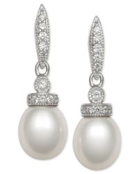 Macy's - Metallic Cultured Freshwater Pearl (7mm) And Cubic Zirconia Drop Earrings In Sterling Silver - Lyst