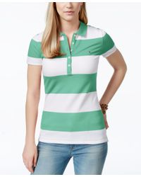 Tommy Hilfiger Green Rugby Striped Polo Top
