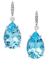 Macy's - Blue Topaz (8-1/2 Ct. T.w.) And Diamond Accent Pear Drop Earrings In Sterling Silver - Lyst