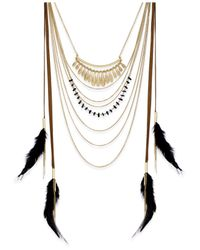 INC International Concepts - Black Gold-tone Multi-row Feather Necklace - Lyst