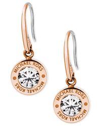 Michael Kors | Metallic Bezel Set Crystal Logo Drop Earrings | Lyst