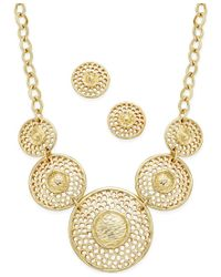 Charter Club - Metallic Gold-tone Circle Statement Necklace And Matching Stud Earrings Set, Only At Macy's - Lyst