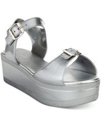 3f7dae927f3 Lyst - Wanted Gumdrop Flatform Jelly Sandals in Metallic
