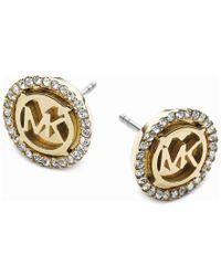 Michael Kors   Metallic Logo Pave Stud Earrings   Lyst