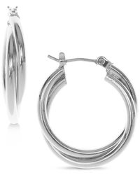 Nine West   Metallic Silver-tone Twisted Hoop Earrings   Lyst