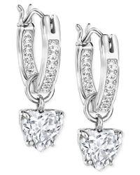 Swarovski | Metallic Crystal Heart Dangle Hoop Earrings | Lyst