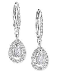 Swarovski | Metallic Silver-tone Crystal Pave Drop Earrings | Lyst