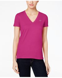 Lacoste - Purple Short-sleeve V-neck T-shirt - Lyst