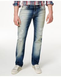 Guess - White Men's Original Straight-fit Destroyed Warmth Wash Jeans for Men - Lyst