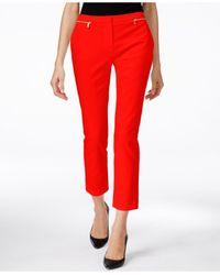 Calvin Klein - Red Zip-detail Ankle Pants - Lyst