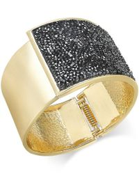 INC International Concepts | Black Rose Gold-tone Glittery Wide Hinged Bangle Bracelet, Only At Macy's | Lyst