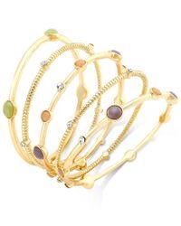 INC International Concepts Metallic Gold-tone Five-piece Stone Bangle Bracelet Set, Only At Macy's