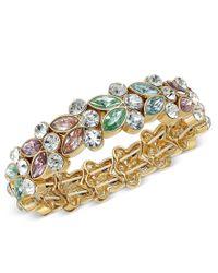 Charter Club - Metallic Gold-tone Crystal Studded Stretch Bracelet - Lyst
