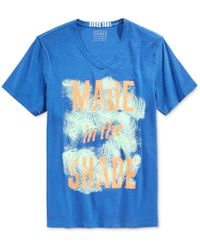 Guess - Blue Men's Made In The Shade Graphic-print V-neck T-shirt for Men - Lyst