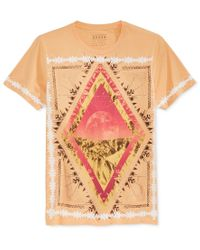 Guess - Natural Men's Moonrise Graphic-print T-shirt for Men - Lyst