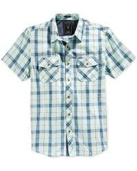 Guess - Blue Men's Hunter Plaid Short-sleeve Shirt for Men - Lyst