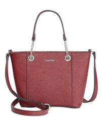Calvin Klein - Red Saffiano Leather Satchel Mini Bag - Lyst