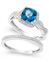 Macy's | Metallic London Blue Topaz (1-9/10 Ct. T.w.) And White Topaz (1/3 Ct. T.w.) Ring Set In Sterling Silver | Lyst