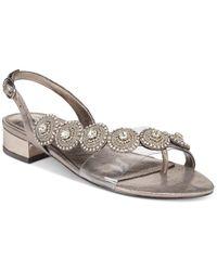 Adrianna Papell | Metallic Daisy Evening Sandals | Lyst
