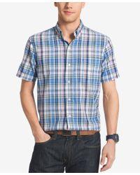 Izod Blue Men's Big & Tall Plaid Short-sleeve Shirt for men