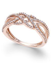 Macy's | Metallic Diamond Braided Band (1/3 Ct. T.w.) In 10k Rose Gold | Lyst