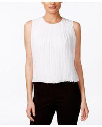 Calvin Klein | White Sleeveless Pleated Blouse | Lyst