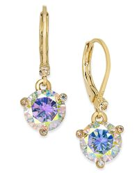 Kate Spade   Metallic Gold-tone Blue Crystal Drop Earrings   Lyst
