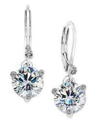 kate spade new york | Metallic Silver-tone Solitaire Crystal Drop Earrings | Lyst